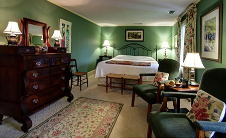 A typical bed and breakfast offers unique rooms as this traditional Buckhorn Inn room.