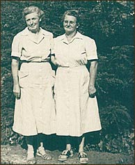 Doug and Audrey created a run on the egg market in Pittman Center when they opened the Inn and also developed a reputation for employing the very best housekeepers. Pictured are Ella Huskey and Grace Price Brannam who worked at the inn through the 1960's.