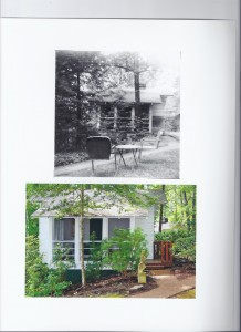 Top photo shows Cottage 1 in August 1955 when the Kollies first visited and in August 2013.
