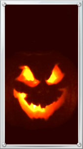 Scary Jack-o-lanterns are a common Halloween decoration.