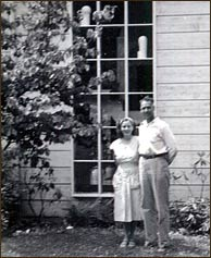 Audrey and Doug Bebb, 1947. Note Doug's two sculptures sitting in the window – they sit there til this day