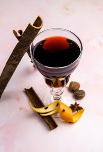This mulled wine is flavored with apple cider, honey and spices.